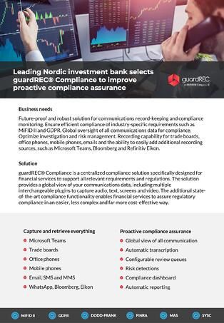Leading Nordic investment bank selects guardREC Compliance