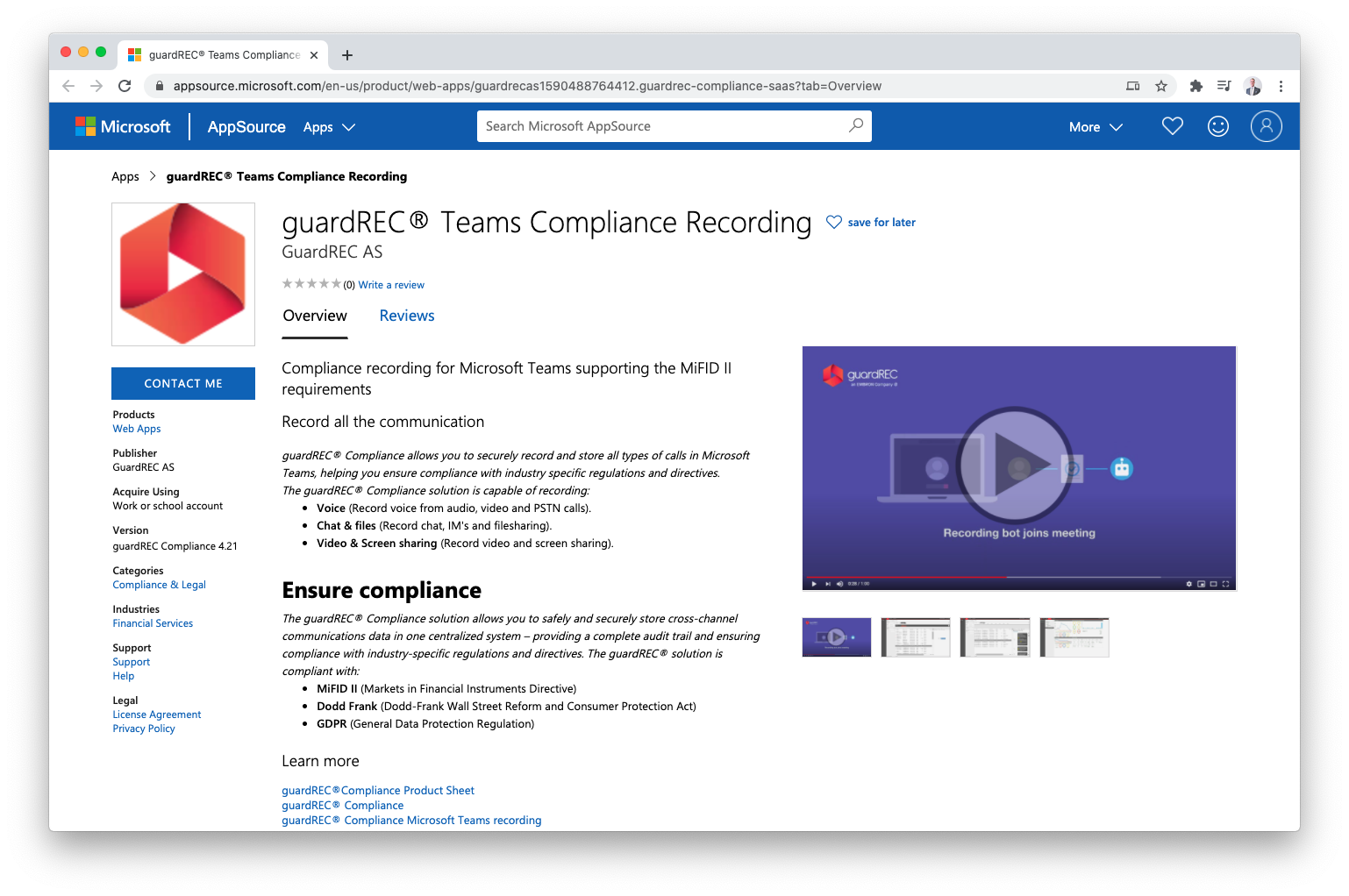 MicrosoftAppSource_guardRECTeamsComplianceRecording